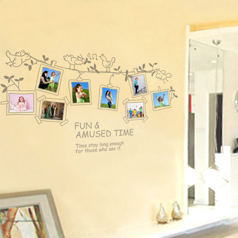 Burung Pohon Foto Inggris Surat Wall Decal PVC Rumah StickerHouse Vinyl Dekorasi Kertas WallPaper Ruang Tamu Kamar Tidur KitchenArt Gambar DIY Murals Girls Boys Kids Nursery Baby Playroom Decor