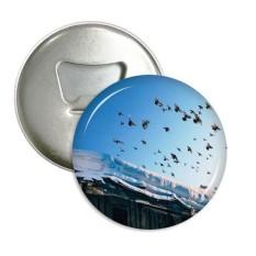 Rumah Burung Salju Putih Langit Sepanjang Pembuka Botol Magnet Kulkas Lencana Tombol 3 Pcs Hadiah-Internasional