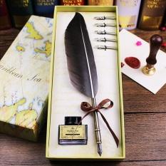 Jual Hitam Antik Quill Feather Dip Pena Tinta Set Alat Tulis Festival Kotak Hadiah Murah Tiongkok