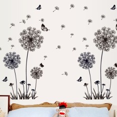Black dandelion stickers living room sofa TV background decoration painting self-adhesive stickers - intl