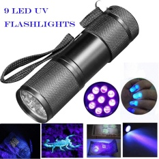 Blacklight Deteksi 9 LED UV Ultra Violet Senter Mini Lampu Lampu Obor