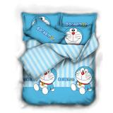 Bloomingdale Doraemon Strip Blue Set Bed Cover Sprei Superking Murah