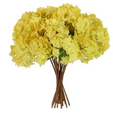 Bluelans® 1 Buket Bunga Hortensia Kerajinan Buatan Pesta Bridal Dekorasi Bunga Plastik Kuning