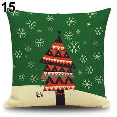 Bluelans® Pohon Salju Kijang Wreath Christmas Pillow Case Xmas Dekorasi Rumah Linen Cushion Cover 15-Intl