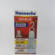 Bola Lampu Led Hannochs Genius 6 Watt Ac Dc 2000Mah Lama Hidup 5 Jam Tanpa Listrik 580 Lumens Original
