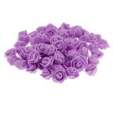 Bolehdeals 100 X Plastik Mawar Bunga Buatan Rumah Kepala Hadiah Partai Bridal Dekorasi Ungu Asli