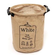 Bolehdeals 23*29 Cm Linen Keranjang Cucian Bag White Organizer Keranjang Tahan Lama Bin Penyimpanan