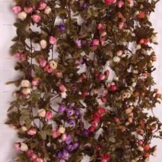 Bolehdeals 2x Buatan Sutra Bunga Palsu Mawar Ivy Merambat Daun Gantung  Dekorasi Cahaya Merah Muda- a365e5b159