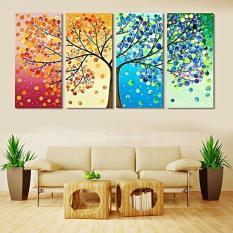 Rp 231.000 BolehDeals 4 Musim Pohon Panel Kanvas Cetak Lukisan Seni Dinding Gambar Rumah Dekorasi ...