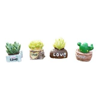 Pencarian Termurah Bolehdeals 4 Pieces Pemandangan Mikro Mini Resin Bonsai Taman DIY Dekorasi Cinta Statue-
