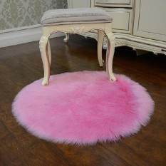 BolehDeals 40 Cm X 40 Cm Round Buatan Kulit Domba Area Karpet Rumah Kantor Fluffy Karpet Lantai Mat-Intl