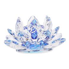 Bolehdeals Kristal Lotus Bunga Kerajinan Paperweight Feng Shui Dekor Cinta Kudus Biru-Internasional