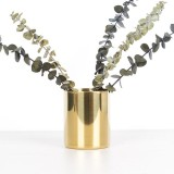 Toko Bolehdeals Emas Kuningan Vas Bunga Pen Holder Desktop Penyimpanan Wadah Tabung Ornamen Silinder Segi Enam Internasional Di Tiongkok