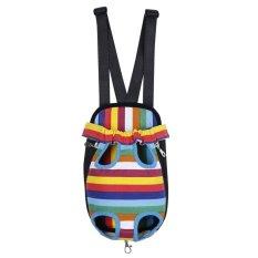 BolehDeals Nylon Pet Dog Cat Carrier Backpack Front Tote Carrier Net Bag Rainbow L