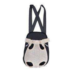 BolehDeals Nilon Anak Hewan Peliharaan Kucing Anjing Pembawa Tas Ransel Carrier Depan Tas Jaring Krem XL