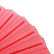 BolehDeals Poliester Kipas Tangan dari Kain Datar Polos Plastik Keel Dompet Lipat Bambu Merah-Intl