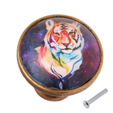BolehDeals Round Zinc Alloy Door Drawer Cabinet Wardrobe Knob Pull Handle Decor Tiger