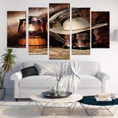 Bolehdeals Self-Adhesive Seni Ukuran Besar Karya Seni Tanpa Bingkai 5 Panel Objek Seni Dekoratif