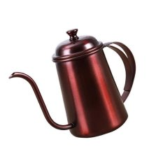 BolehDeals Stainless Hand Drip Coffee Pot Pour Over Gooseneck Tea Kettle 650ml Copper - intl