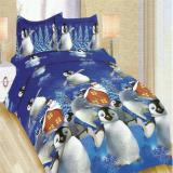 Jual Bonita Sprei Queen 3D Motif Blue Penguin 160X200 Cm Murah Di Indonesia