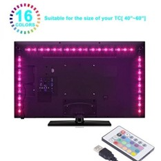 Boomile LED TV Backlight, USB LED Strip Lights 6.56ft 2M 5050 RGB Light Strips Kit Bias Lighting with Remote Control for HDTV, Flat Screen TV Accessories Desktop Monitors PC, Multi Color - intl