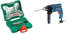 Bosch Paket Mesin Bor 13Mm Dan Mata Bor Set  / Gsb 550 And X Line 33 Pc - Biru