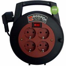 BOSS® Kabel Roll Box 10M 4 Lubang Stop Kontak + Saklar ON/OFF - Black (Maroon)