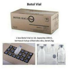 Botol Asi Kaca Vial 120ml - 18pc botol Kaca Tutup Karet