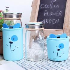 Review Toko Botol Minum Animal Diller Cover Dog Blue Botol Karakter Kaca Souvenir Ulang Tahun Drinking Bottle Glass Bottle Water Bottle