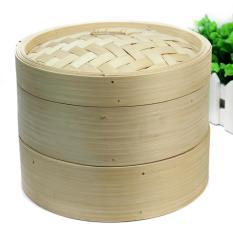 BU 2 Tier Bamboo Steamer Set dengan Dua Lapisan dan Satu Tutup untuk Rumah Dapur Cookware-Intl