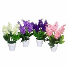 Buket Bunga Lavender Vas Melamin Putih Murah