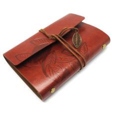 Jual Buku Catatan Binder Kulit Retro Leaf Kertas A5 Brown Online