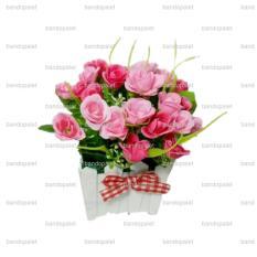 Jual Cepat Bunga Mawar Pink Tanaman Rangkaian Bucket Buket Bunga Pohon Plastik Artificial Artifisial Sintetis Pot Vas Pagar Hiasan