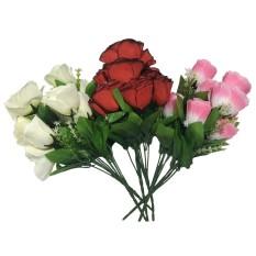 Bunga Mawar Rose Plastik Palsu Artificial Hias 6 Bunga Kuntum - Pink 30b163574b