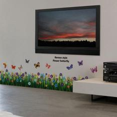 Bunga These Butterflies Rumput Stiker Dapat Dilepas Diseduh Sendiri Mengutip Wall Sticker Gaya Vinil Rumah