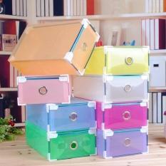 Jual Buy 1 Get 9 Free 10 Kotak Sepatu Warna Warni Multicolour Transparent Shoe Box With Frame