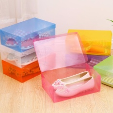 Harga Buy 1 Get 9 Free Kotak Sepatu Transparan Warna Warni Multicolour Transparent Shoe Box Termahal
