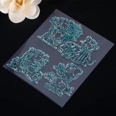 BUY IN COINS Cute Blue Bear Picture DIY Besar Transparan Karet Stamp Seal Kerajinan DIY Scrapbooking Dekorasi-Intl