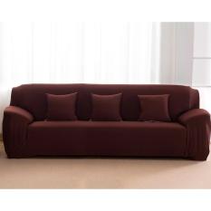 BUY IN COINS L-Bentuk Tekstil Spandex 3 Seaters Sofa Cover Pelindung Mebel Sofa Sarung Rumah Dekorasi (Kopi & 3 Seaters) -Intl