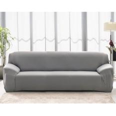 BUY IN COINS L-Bentuk Tekstil Spandex 3 Seaters Sofa Cover Pelindung Mebel Sofa Sarung Rumah Dekorasi (Grey & 3 Seaters) -Intl