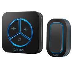 CACAZI Doorbell 280 M Remote AC 110-220 V US/EU/UK Plug Wireless Door Bell 48 Cincin Door Chime 1 Tombol Tahan Air + 1 Receiver untuk Home Hotel Doorbell-Intl