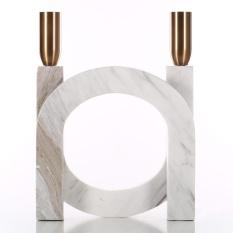 Candlestick dengan Marmer-Tinggi U-shape Candlestick 2 Pack Set Meja Makan Dekorasi Hadiah untuk Ulang Tahun/Rumah Tangga -Intl
