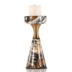 Candlestick dengan Marmer-Pendek Ringkas dan Modern Meja Makan Malam, Ornamen Hadiah untuk Pernikahan, Pesta, Rumah, Spa, Armotherapy-Intl