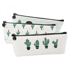 Canvas Student Kotak Pensil Box Pen Pouch Dompet Koin Kantong Kosmetik Tas Rias Kaktus Pastoral Set Perban dari 3-Intl