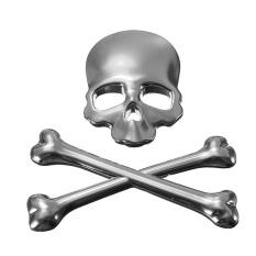 Kualitas Logam Mobil 3D Tengkorak Tulang Stiker Lambang Stiker Mobil Motor Truk Lencana Perak Intl Oem