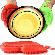 Carlie 2 Pack Silicone Dishwashing Penggosok Spons Sikat Silikon Sarung Tangan Cuci Piring untuk Mencuci Dapur Pot Pan Dish Bola-Internasional