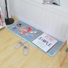 Kartun Lantai Penyerap Karpet untuk Ruang Keluarga Kamar Mandi Non-Slip Dapur Keset dan Karpet Lembut Pakaian Kaki Samping Kasur Bisa Dicuci Keset Pintu Masuk 45X120 Cm (Biru) -Intl