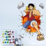Jual Kartun Poster Anime Luffy Broken Wall 3D Efek Stiker Dinding Untuk Kamar Anak Dinding Decals One Piece Poster Anak Anak Hadiah Mural Intl Ori