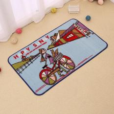 Kartun Anak-anak Karpet Anti Slip Keset Lembut Pakaian Kaki Samping Kasur Penyerap Karpet untuk Ruang Tidur Mandi Mudah Dicuci Keset Pintu Masuk 40X60 Cm (Biru) -Intl