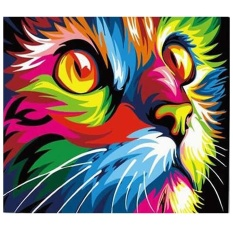 Cat Face DIY Digital Oil Hand Painting Wall Decoration (Warna-warni)-Intl